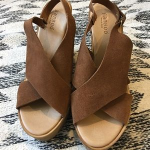 Leather Cork Wedge Shoes Heels